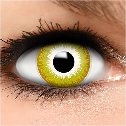 Farbige Kontaktlinsen Avatar in gelb + Behälter - Top Linsenfinder Markenqualität, 1Paar (2 Stück)