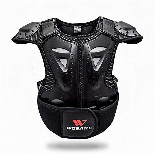 WOSAWE Kinder Motorradjacke Brustpanzer Weste-Schutz Motocross Enduro Sport mit Protektoren für 4-15 Jahre alt Kinder S