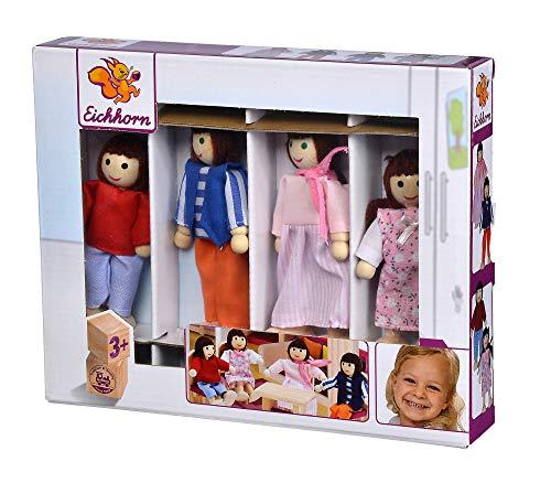 Eichhorn 100002500 - Puppenset Familie, Puppenarme und Beine sind beweglich, 4-tlg., aus Eichenholz