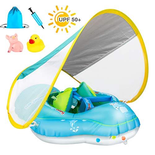 Achort Baby Schwimmring Baby Schwimmen Schwimmtrainer mit abnehmbarem Sonnendach, Kinderboot Schwimmer Schwimmreifen mit Sonnenschutz für Kinder 6 bis 36 Monate (Tragetasche/ Luftpumpe/Spielzeug)