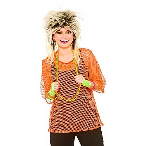 Adults 80's Rave Disco Hen Party Neon Mesh Top Fancy Dress Accessory-Neon Orange