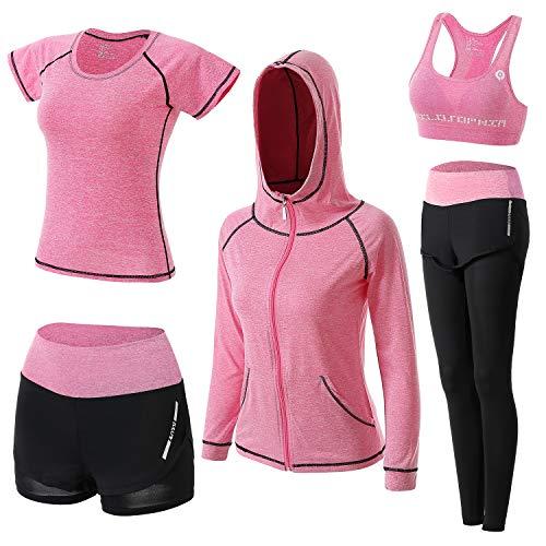 BOTRE Damen Traingsanzug Yoga Kleidung Anzug 5er-Set Sportanzüge Jogginganzug Gym Fitness Kleidung Laufbekleidung Sportswear Sport Yoga Outfit Damen BH Leggings Set (Rosa, X-Large)