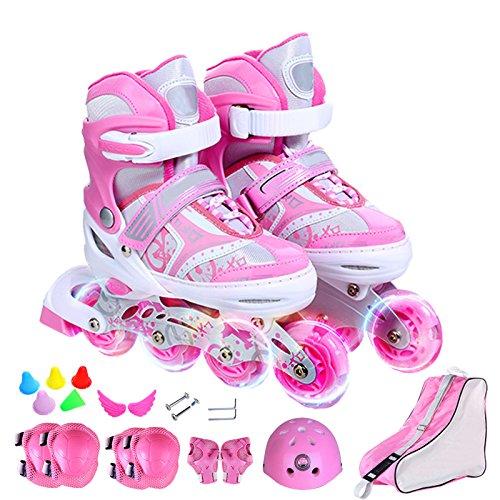 ZCRFY Kinder Inliner Skates Für Anfänger Verstellbar Set Rollschuhe Mädchen Jungen Kinderinliner Kleinkinder Inlineskates - Größenverstellbar über
