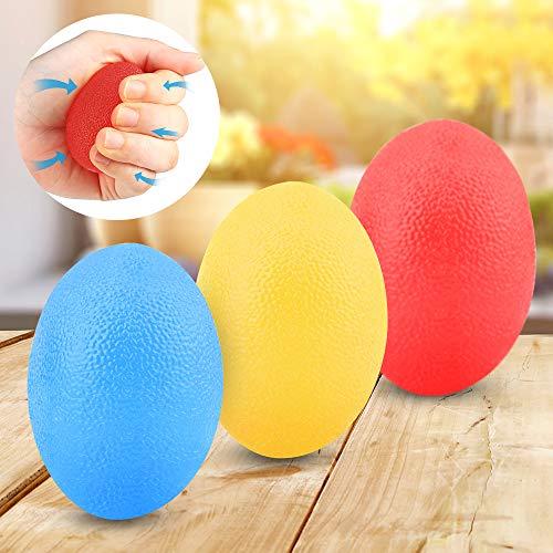 Sporgo Eiförmige Griffbälle,3 Stück Handtrainer Fingertrainer Eiförmige Griffbälle,Ball Hand Trainingsgerä Antistressbälle Fingertrainer mit Unterschiedlichen Härtegraden (red+Blue+Yellow)
