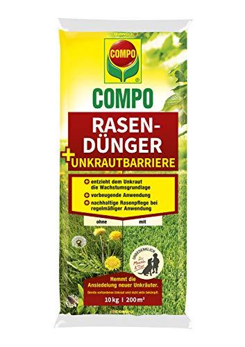 COMPO Rasendünger + Unkrautbarriere,Vorbeugende und nachhaltige Rasenpflege, Feingranulat, 10 kg, 200 m²