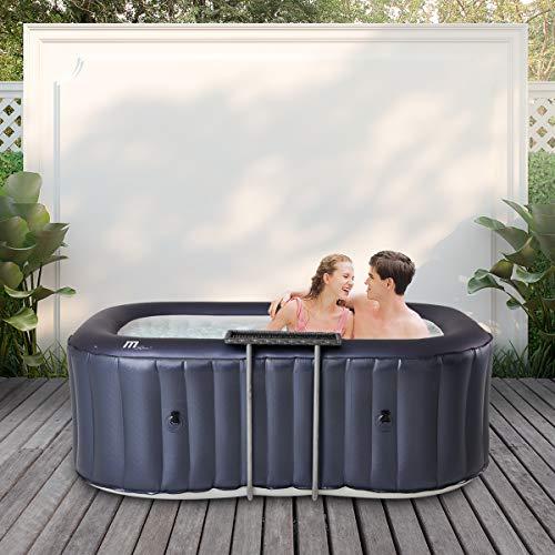 Miweba MSpa aufblasbarer Whirlpool 2021 Urban Nest U-NE021 - für 2 Personen - 104 Luftdüsen - M-ONE & Ozon-UV-C-Desinfektion - Rattan-Tisch (2 Personen)