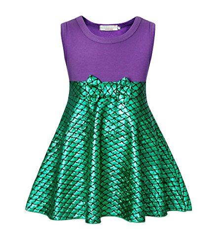 AmzBarley Prinzessin Kleid Meerjungfrau Kostüm Kinder Mädchen Party Cosplay Kleider Geburtstag Kleidung, Dünn, Packung mit 1, Grün 007, 4-5 Jahre