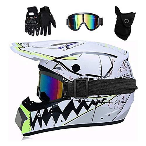 ZHUOYU Motocross Helmet,Motorrad Crosshelm Set,Downhill Enduro Helm Integralhelm,Jugend Kinder Dirt Bike Helme,Haifischform,DOT Zertifizierung,ATV/MTB/MX,Brille/Handschuhen/Maske (S (52-53 cm),B)