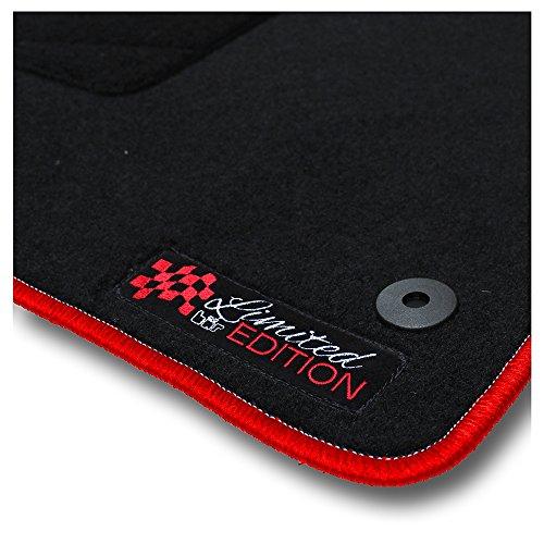 Bär-AfC HY01561 Limited Edition Auto Fußmatten Nadelvlies Schwarz, Rand Kettelung Rot, Stick Logo Rot, Set 4-teilig, Passgenau für Modell Siehe Details