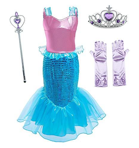 Le SSara Mädchen Meerjungfrau Prinzessin Ariel Kostüm Pailletten Partykleid mit Zubehör für Kinder (120(5-6 Jahre), D76+Pur1)