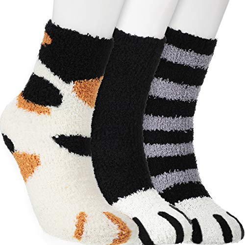 SATINIOR Katze Klaue Socken Pfote Socken Schlaf Flauschige Socken Katze Gemütlich Flaumig Slipper Socken Winter Warme Socken für Damen (3 Paare, Schwarz, Gestreift Schwarz, Weiß)