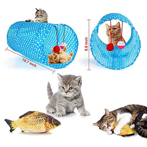 AILUKI 31 Stück Katzenspielzeug Set mit Katzentunnel Jingle Bell Katzen Spielzeug Variety Pack für Kitty