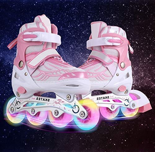 Hesyovy Leucht PU Räder Inline-Skates, Rollerblades für Kinder, größenverstellbar von 31 bis 42, ideal für Anfänger, komfortable Rollschuhe, Inliner für Mädchen und Jungen (Rosa, EU 39-42)