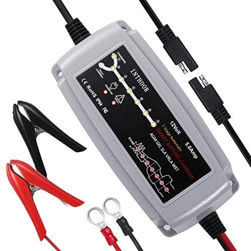 InThoor 5A/12V Vollautomatisches Autobatterie Ladegeräte,Intelligentes Batterieladegerät Wasserdichte und LED-Ladefortschrittsanzeige für KFZ Auto PKW Motorrad ATV Boot (für Batterien von 15Ah-120Ah)