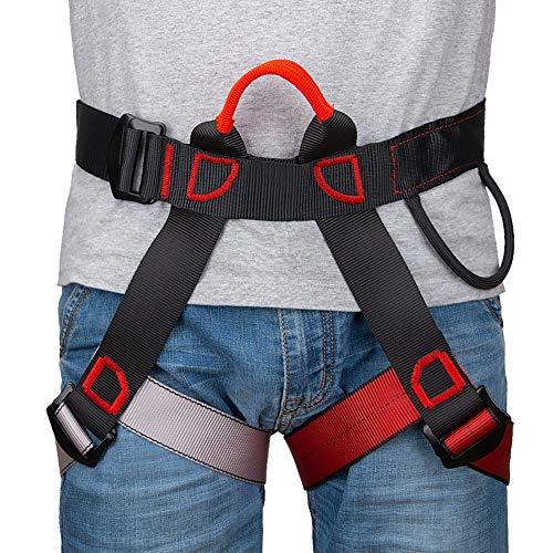 Linkax Klettergurte Befestigender Klettergut,breiterer Halbgurt zum Bergsteigen, Feuerrettung, Für Frauen, Männer und Kinder halber Körperklettergurt