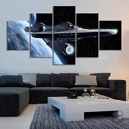5 Stück Fantasy Weltraum Universum Raumschiff Poster HD Wandbild Star Trek Filmplakat Leinwand Malerei Schlafzimmer Wanddekoration (kein Rahmen)