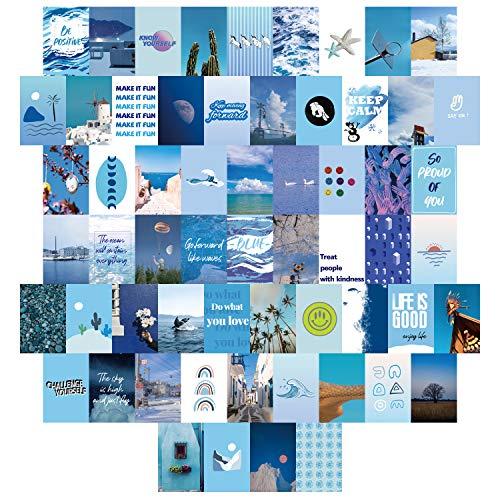 60-teiliges Zimmer-Dekor für Schlafzimmer, blaues ästhetisches Foto-Collagen-Set, Wandkunst, Bilder, Collagen-Kit für Teenager Mädchen und Frauen, 10,2 x 15,2 cm Fotosammlung