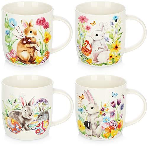 com-four® 4x Kaffeebecher aus Keramik - Kaffee-Tasse für Ostern mit Hasen-Motiven - Kaffeepott für Kalt- und Heißgetränke - 370 ml [Auswahl varriert] (weiß - Hase)