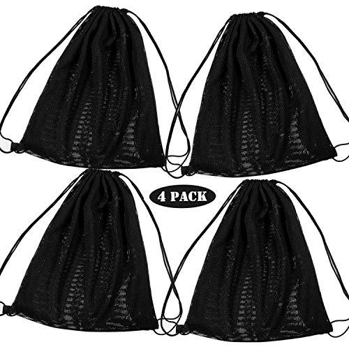Whaline Rucksack mit Kordelzug, schwarz, multifunktionale Netztasche mit Kordelzug, Schultergurte für Schwimmen, Strand, Tauchen, Reisen, Fitnessstudio, Camping, Training (45,7 x 38,1 cm)