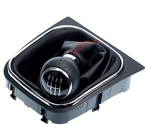 L&P A256-1 Schaltsack Schaltmanschette Schwarz Naht Rot Schaltknauf 6 Gang kompatibel mit VW Golf 5 V Golf 6 VI Rahmen Komplettset Knauf Plug Play Ersatzteil für 1K0711113 5K0711113 1K8711113
