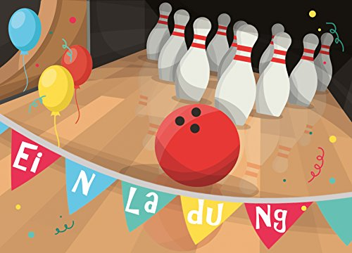 """12 Einladungskarten zum Kindergeburtstag mit Motiv """"Bowling"""" - wunderschön gestaltete Geburtstags-Einladungen für Jungen und Mädchen - von Sophies Kartenwelt"""
