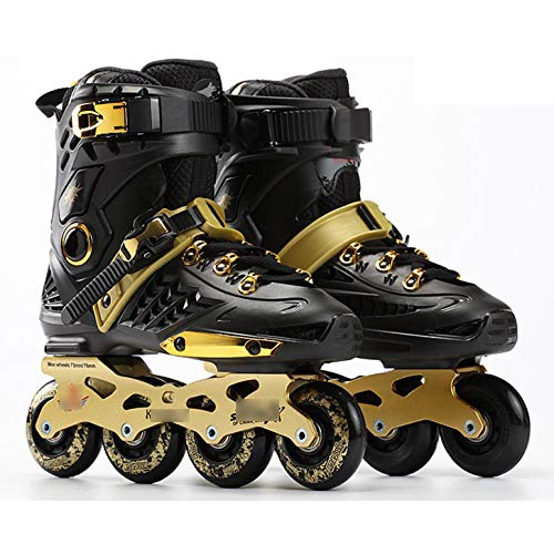 WALLHANG Inline Skate,Damen Schlittschuhe,Einreihige Rollschuhe mit Flacher Blume,Unisex,schwarzes Gold,39