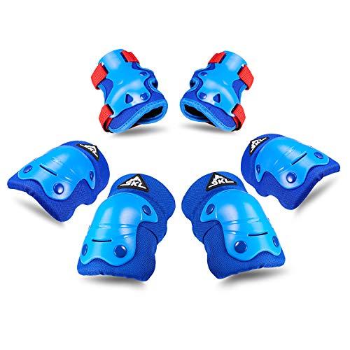 Kinder Knieschoner Set, Schützerset inkl.Kinder Protektorenset Knieschoner Ellboenschoner Handgelenkschoner für Kinder, 6 in 1 Schutzausrüstung mit Niete, Kinderschoner für Inliner, Radfahren (Blau)