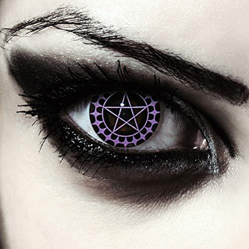 Designlenses farbige Pentagramm Kontaktlinsen für Halloween Crazy, ciel, Ohne Sehstärke, 2 Stück