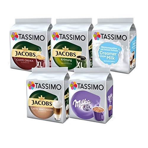 Tassimo Jacobs Café Crema / Krönung / Milka Kaffee Kapseln (5er Pack , 64 Getränke)