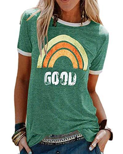 T Shirt Damen Kurzarm Baumwolle Rundhal T-Shirt Muster Regenbogen Shirt Oberteile Hemd Tops Bluse Sommer Lässiges Outdoor T-Shirt-Grün-M