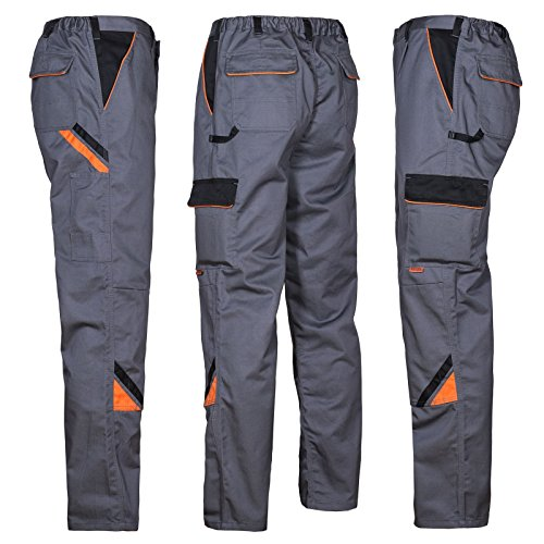 ARTMAS Professional Professionelle Arbeitshose für Männer, Schutz für Monteure, Hose für Gärtner, Mechaniker, leichte Schutztaschen; grau mit schwarzen und orangefarbenen Einsätzen; (56)