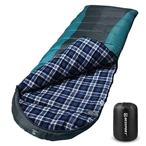 Bessport Schlafsack Winter 3-4 Jahreszeiten | Wasserdichter Leicht Deckenschlafsack in -10 ℃ bis 18 ℃ | für Erwachsene, Camping und Outdoor | 100% Sprüh Gebundene Baumwolle Füllung (Grey)