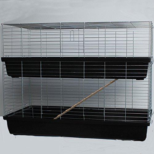 XXL 1,20 m schwarz doppel Hasenkäfig Meerschweinchenkäfig Kaninchen- und Meerschweinchenheim