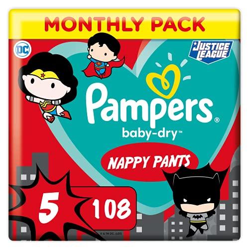 Pampers Windeln Pants Größe 5 (12-17kg) Baby Dry, 108 Höschenwindeln, MONATSBOX, Superhelden, Einfaches An- und Ausziehen, Zuverlässige Trockenheit