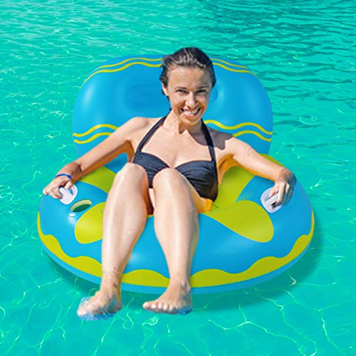 Schwimmring Erwachsene,Aufblasbare Float-Floß,Aufblasbarer Schwimmring mit Rückenlehne und Getränkehalter,Aufblasbarer Spielzeug für Erwachsene und Kinder mit Griffen für mehr Sicherheit(Sofa-Blue)