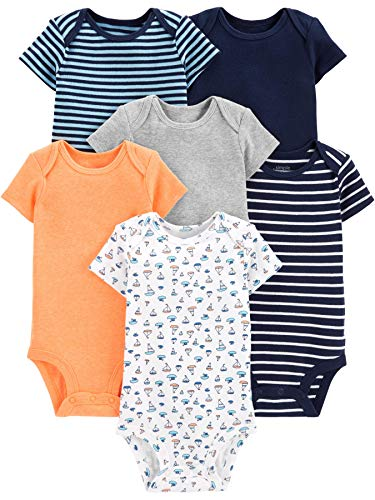 Simple Joys by Carter's Baby Jungen Strampler kurzärmlig 6er Pack ,Sailboat/Blue Stripe/Orange/Gray ,12 Months