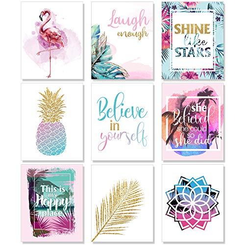 Outus Set von 9 Jungen Mädchen Zimmer Wandkunst Inspirierende Drucke Ananasblatt Motivierende Sätze Poster Mädchen Schlafzimmer Hauptdekorationen ungerahmt