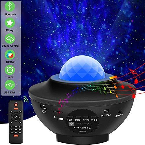 Sternenhimmel Projektor Kinder Erwachsene Musik Bluetooth Lampe, Sternen Ozeanwellen Effekt, Nachtlicht mit Timer, mit Bluetooth Lautsprecher,Party Kugel,Fernbedienung,Netzbetrieben,Geschenk