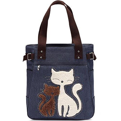 KAUKKO Handtaschen Schultertasche Frauen Schultertasche Segeltuch Tasche Niedliche Katzen Tasche Damen Shopper Damen