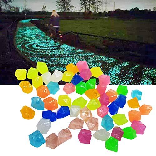 DOHAPPYS 300 Stück Leuchtsteine für den Garten, leuchten im Dunkeln, für Gehwege, Outdoor-Dekoration, Aquarium, Aquarium, Aquarium, Garten, dekorative Steine für Wege, Rasen, Hof, Gehweg (bunt)