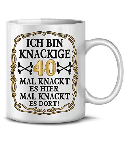 Golebros Ich Bin Knackige 40 Tasse Becher Kaffeebecher Kaffeetasse Geburtstag Geschenk zum Geburtstagsgeschenk für geburtstagsdeko Deko Happy Birthday Artikel Ideen