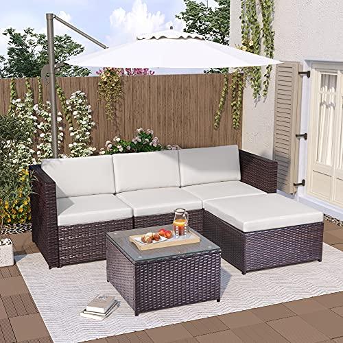 Leisure Zone Polyratten Lounge Set, 5 Teilig Sitzgruppe für 3-4 Personen, Gartenmöbel Set mit Kissens, für Garten, Terrasse&Balkon, Braun