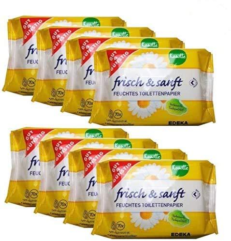 Gut & Günstig 8 Pack (560 Blatt) feuchtes Toilettenpapier 8er Pack Kamille