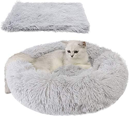 Bett für Katze,Hundekissen Flauschig Katzenbett Set mit Decke,Katzenbett Warm Weich Deluxes Schlafen Bett zum Katzen und Kleine Hunde Rutschfestes Waschbar (50cm, grau)