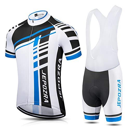 JEPOZRA Fahrradbekleidung Herren Sommer Fahrradtrikot Set Rennrad Trikot Radtrikot Kurzarm MTB Mountainbike Jersey Shirt und Fahrradhose Atmungsaktiv Gel Sitzpolster (Blau, L)