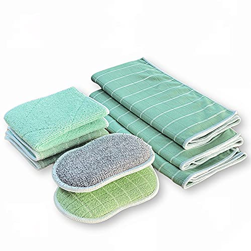 KERA® Bambus Lappen Tücher 7er Set für Fenster Küche Bad | Streifenfrei Fusselfrei Extra Saugstark Nachhaltig | Putztücher + Geschirrtücher + Fenstertücher | 60° waschbar Trockner geeignet