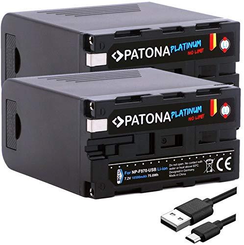 PATONA Platinum 2X Ersatz für Akku Sony NP-F970 (10400mAh / Powerbank Funktion) - Tesla Cells Inside - USB-Ausgang - Micro-USB Eingang
