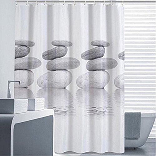 Goldbeing Duschvorhang 240x200 Textil Grau Pebble Schimmelresistenter und Wasserabweisend Shower Curtain mit 16 Duschvorhangringen