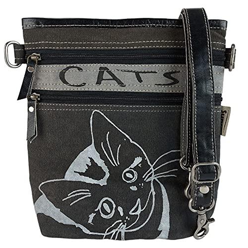 Sunsa Damen Tasche Umhängetasche, Handtasche aus Canvas & Leder. Nachhaltige Produkte, Groß Vintage Stoff Shoulder Bag, Schultertasche, Segeltuch Crossbody, Geschenkideen für Frauen, Katzenmotiv