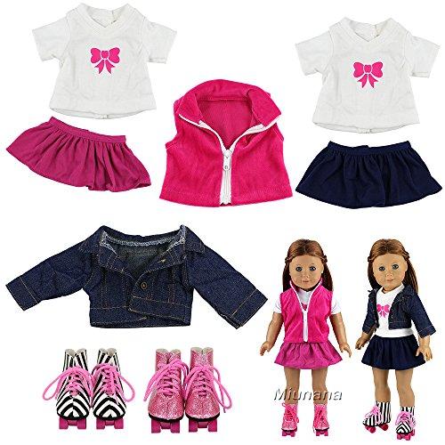Miunana 2 Sets Kleidung & 2 Schuhe Schlittschuhe für 45-50 cm Puppe 18 Inch Doll Puppen American Girl Doll Stehpuppen Puppe